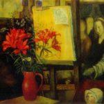 Painting flowers Soviet artist Boris Shamanov