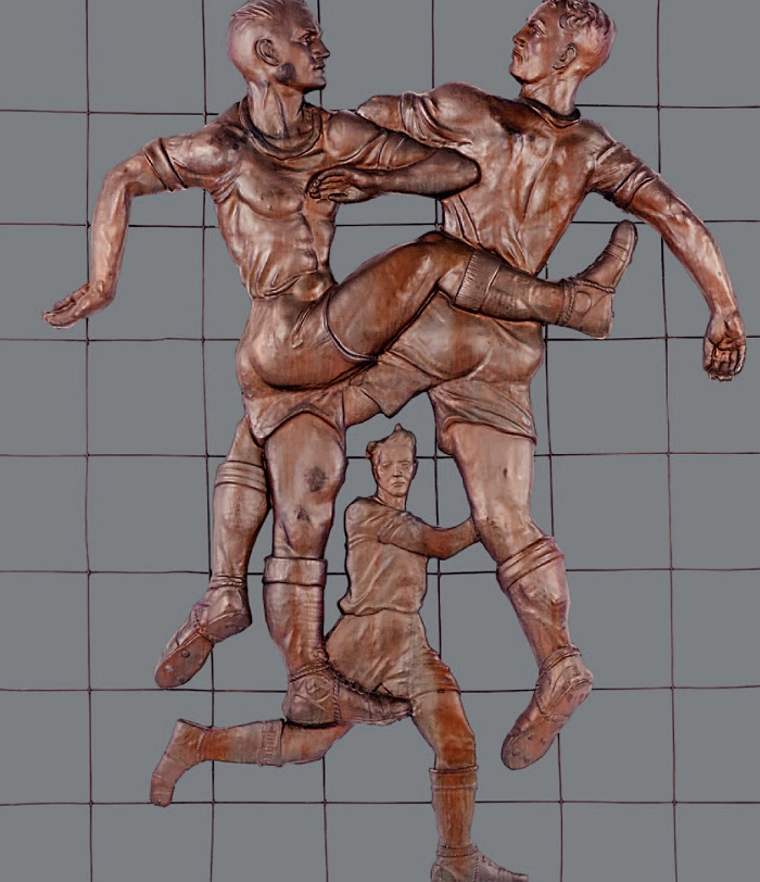 Football players. 1948-1955. Relief on the grate. Copper, chasing, welding. The State Tretyakov Gallery