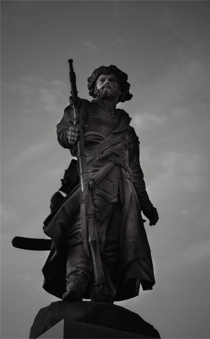 Founder of the city, explorer Yakov Pohabov monument in Irkutsk, established in 2011