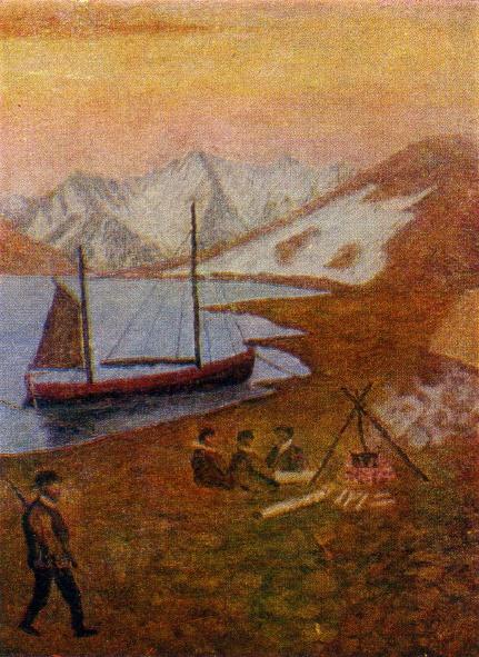 Fragment of painting The Rusanov's camp. 1950s