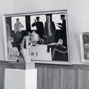 Fragment of the exposition of the personal exhibition of AA. Deineka in 1957 in Moscow with the sculpture 'The Old Woman'