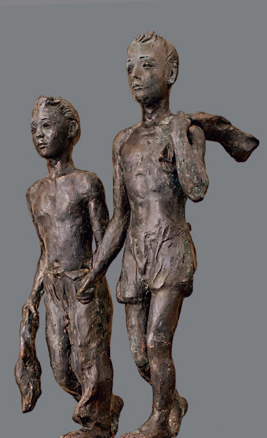 Friends. 1950's. Electroplating, plasticine, pedestal - wood