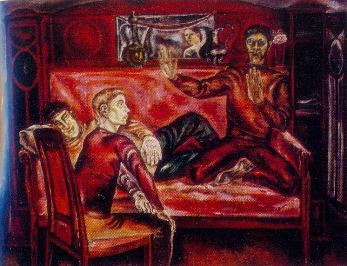 Hunters on the sofa. 1979. Oil on canvas