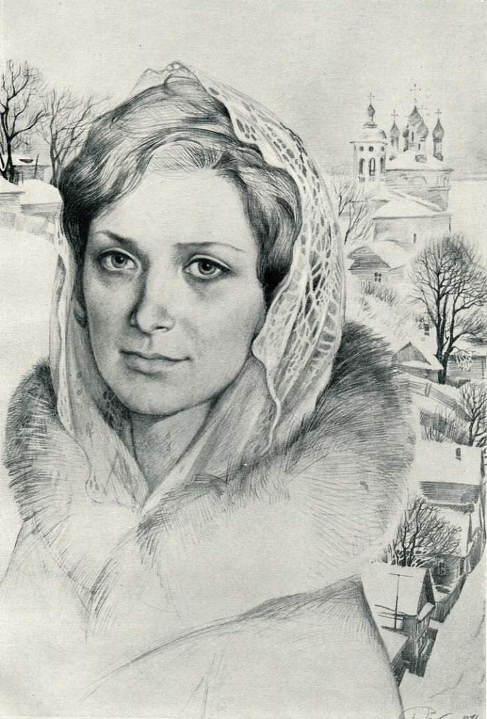 In the winter in Murom. 1976 pencil