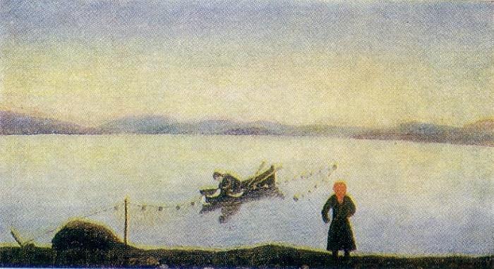 Lake Nekhvatovo. Oil on canvas. Arkhangelsk art museum