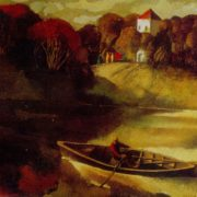 Landscape with a boat (Evening sun). 1978. Oil on canvas