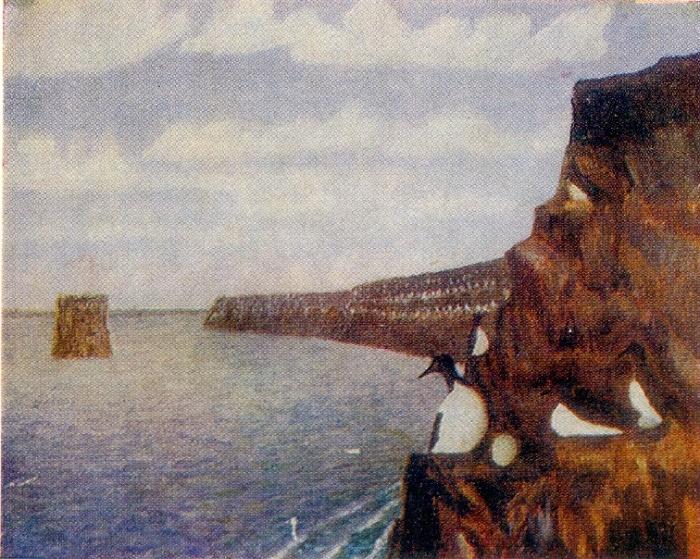 Landscape with birds. Oil, cardboard. Arkhangelsk local history museum