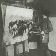 M. Grekov at work in the studio. Photos, end of 1920s