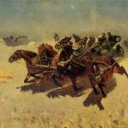 Cavalry - Army tachanka. Oil. 1934