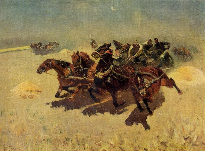Cavalry - Army tachanka. Oil. 1934