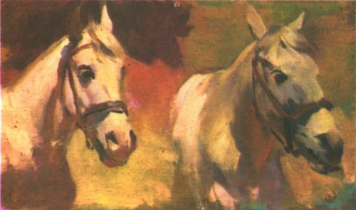 Head of white horses. Study for the painting Trumpeters of the First Cavalry Army. Oil. 1934
