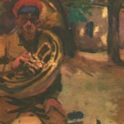 Musician of the 29th Cavalry Regiment. Study for the painting Trumpeters of the First Cavalry Army. Oil. 1934
