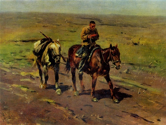 To the detachment of Budenny. 1923. Oil