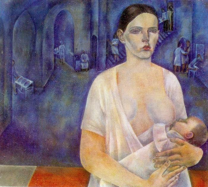 Maternity hospital. Motherhood. 1967-1972 Oil on canvas