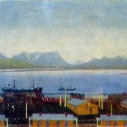 Matochkin ball. Factory Camp. Canvas, oil. Arkhangelsk Museum of Fine Arts
