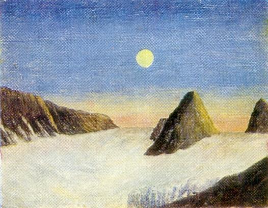 New Earth. Glacier. Cardboard, oil. Arkhangelsk Museum of Fine Arts
