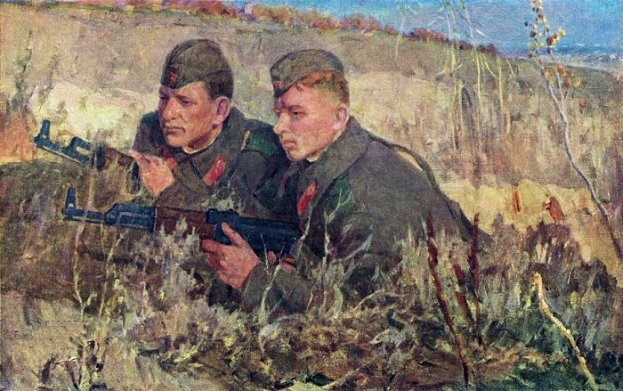 On patrol. Excellent workers in military and political training VI Kruglov and PI Kononov, 1965