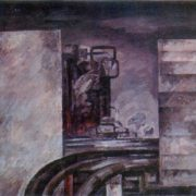 Petrochemical plant. Among the pipes. 1975. Paper, tempera