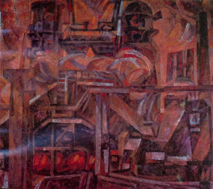 Petrochemical plant. It's a hot day. 1974. Paper, tempera