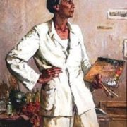 Portrait of artist Bahlulzade. 1955. Painting by Tgi Tagiyev