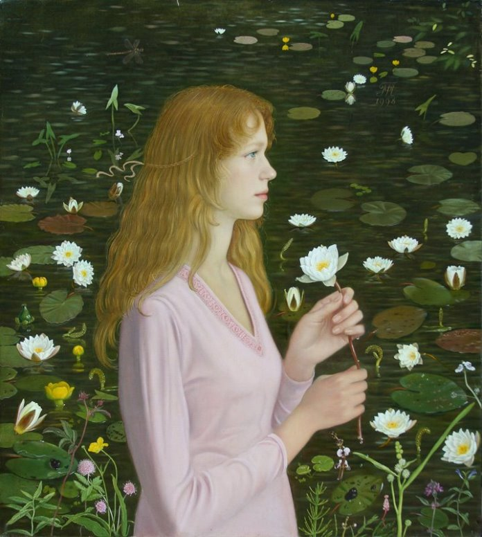 Portrait with water lilies