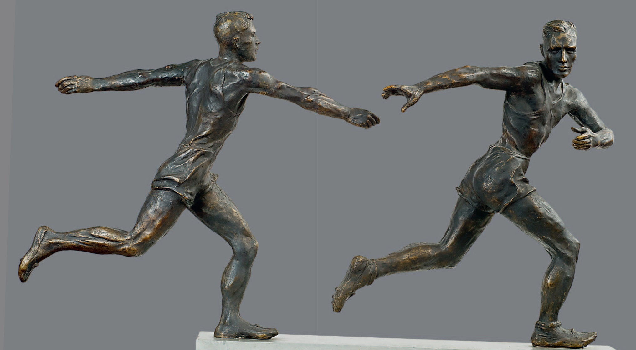 Relay race. 1945. Two-figure composition. Bronze, pedestal - metal