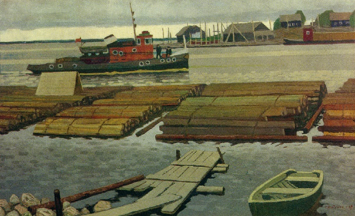 River everyday life. 1970. Canvas, tempera