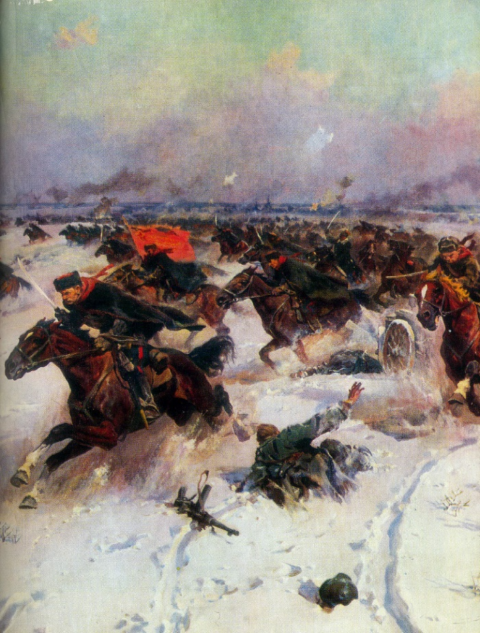 Soviet cavalry in battles near Moscow, fragment