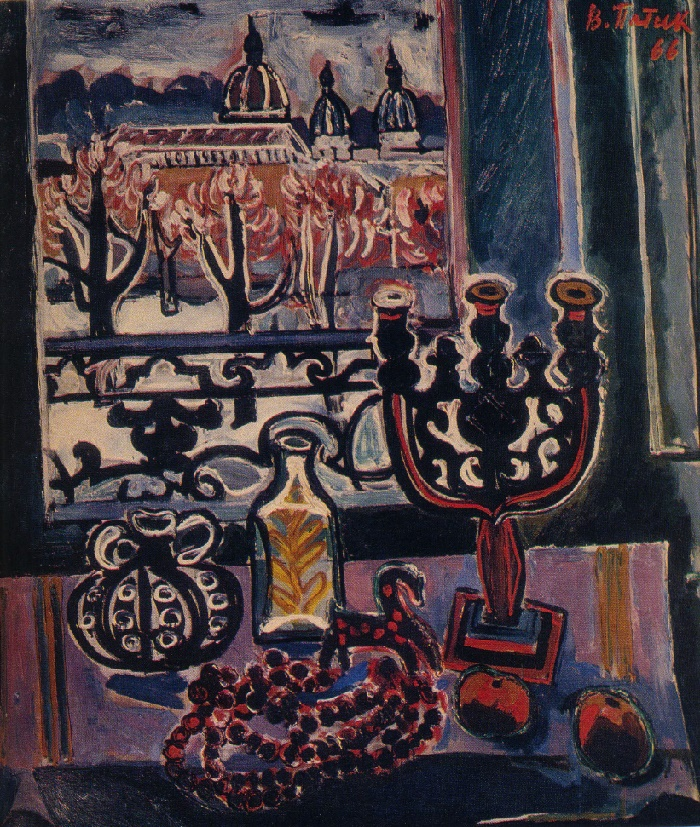 Still life with a candlestick. 1966. Oil on canvas. Museum of Ukrainian Art. Lvov