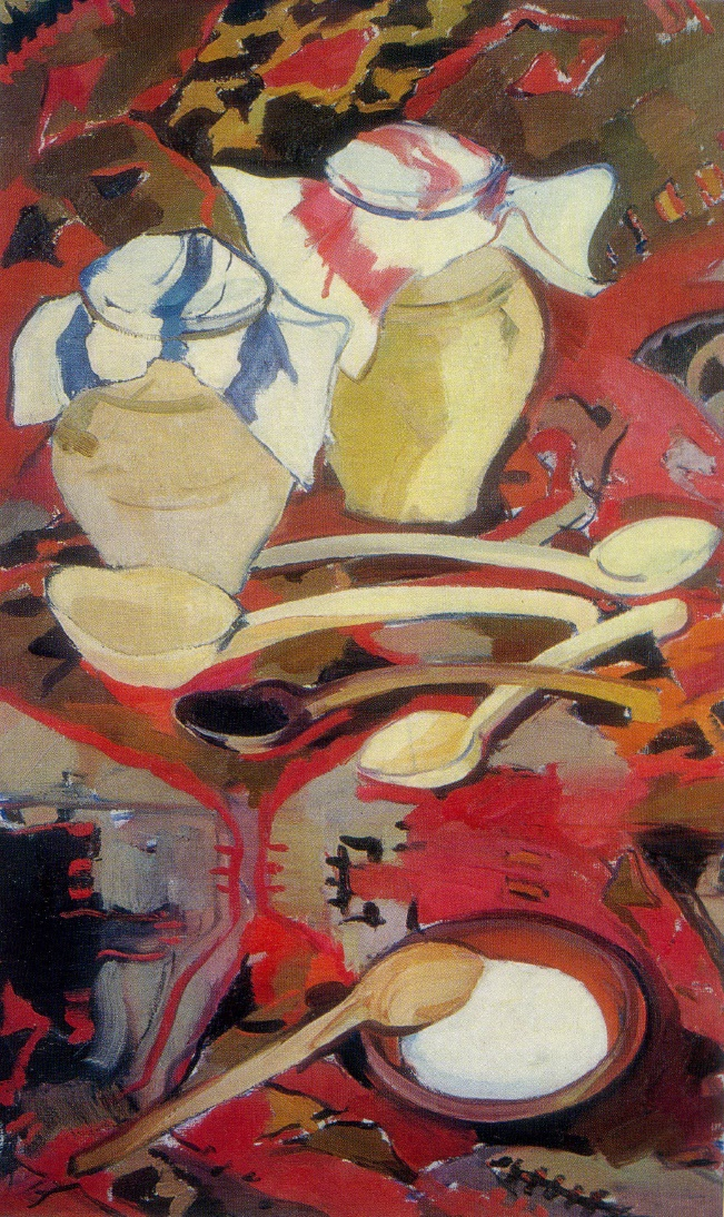 Still life with clay dishes. 1962 Oil, canvas