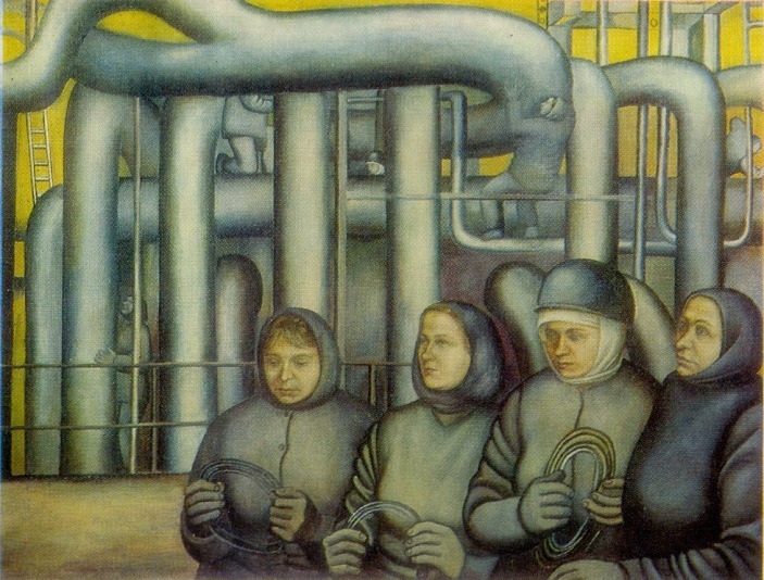 The builders of the Moldovan Power Station. 1974. Wood, gesso, tempera. 1974