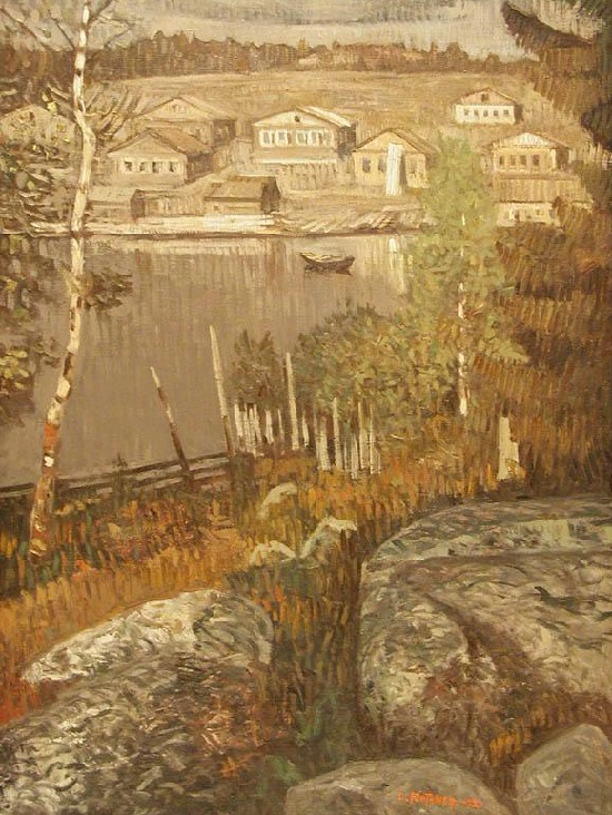 The village of Gridino. 1972. Soviet landscape painter Sulo Yuntunen 1915-1980