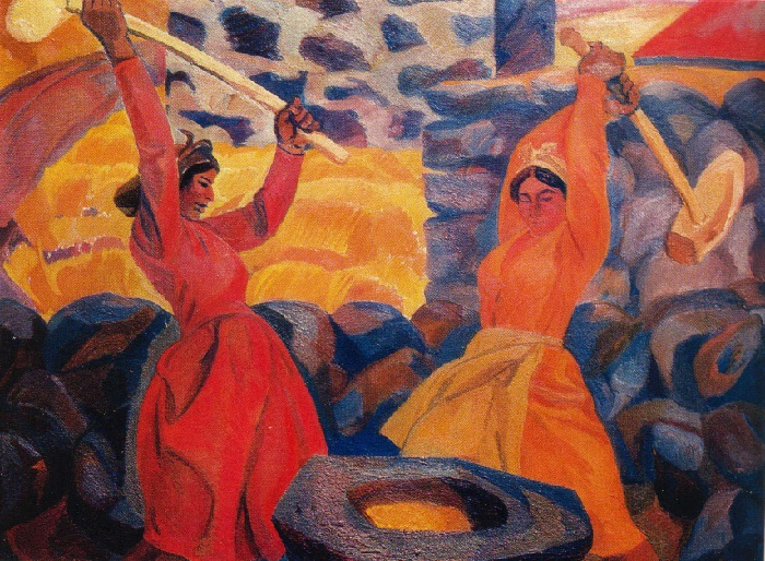 Threshing. 1970. Oil on canvas. Art fund of Ministry of Culture of Armenian SSR, Yerevan