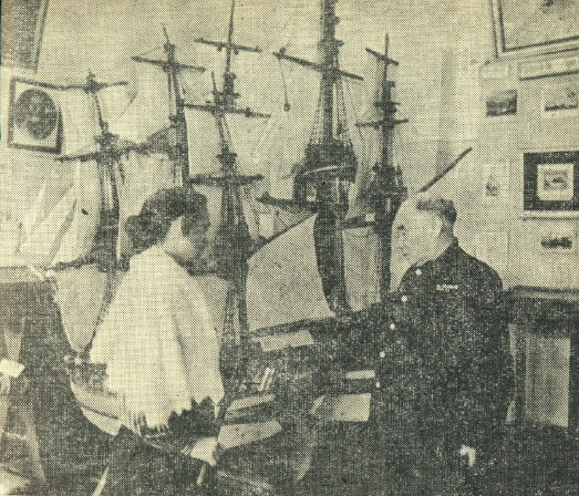 Tyko at the model of a ship. 1950s