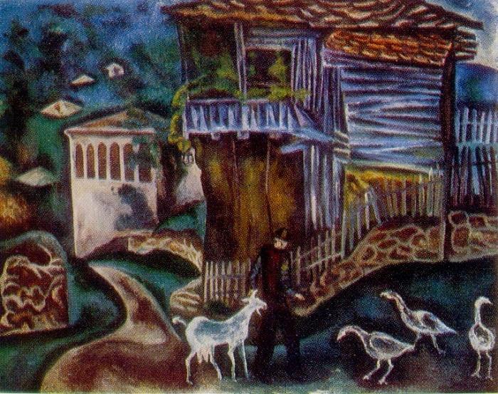 Village of Bozhenitsy. 1978. Oil, canvas