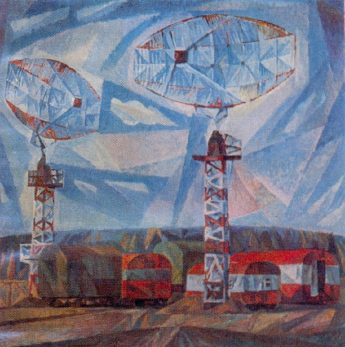 Wave waiting antennas. 1973. Paper, tempera