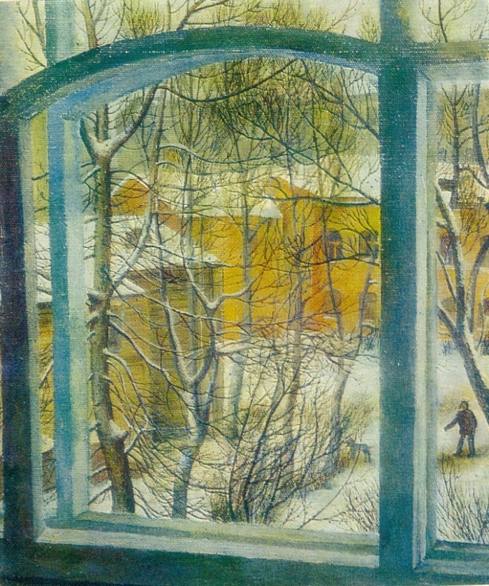 Winter landscape. Window. 1973. USSR Ministry of culture