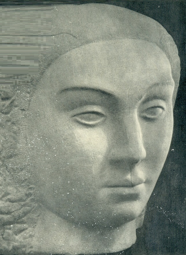 A woman's head. Stone. 1938. Vilnius, Central Library of the Academy of Sciences of the Lithuanian SSR