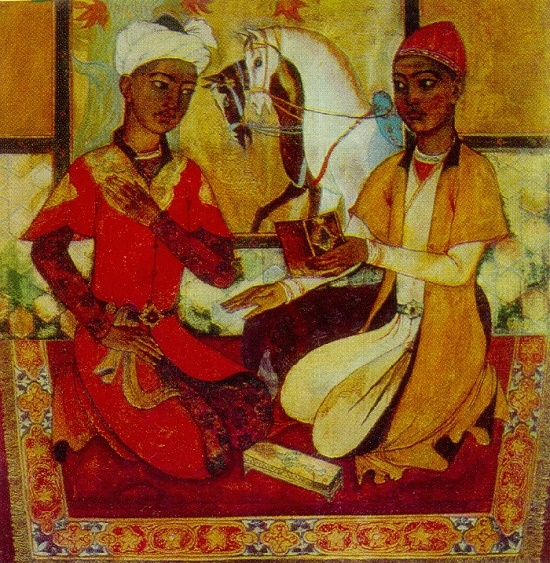 Alisher of Navoi and Hussein Baikar in their youth. 1968. State art museum of Uzbekistan, Tashkent
