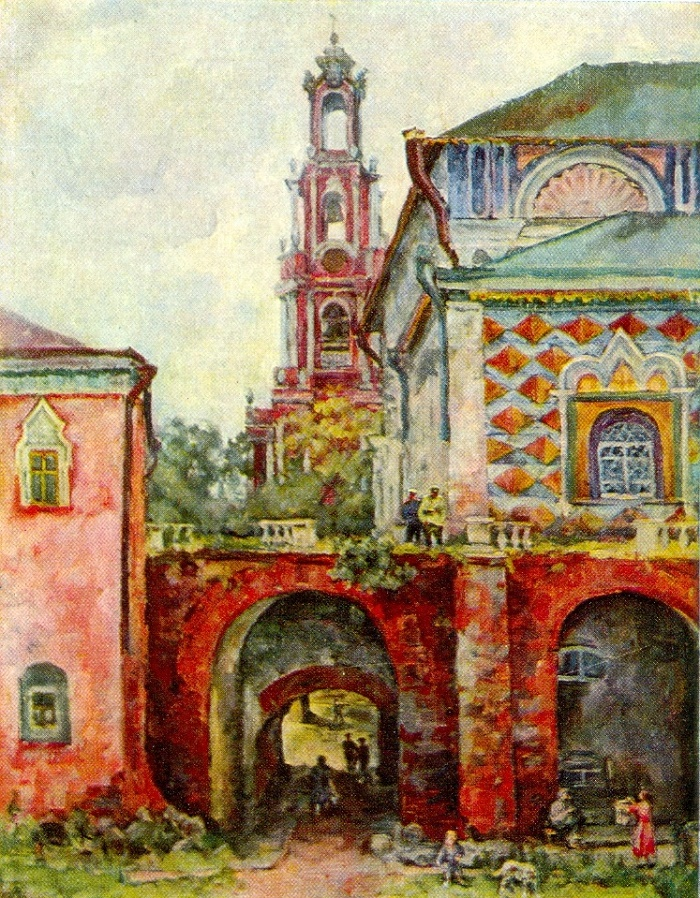 Autumn. Belfry of Rastrelli - Ukhtomsky in the Trinity-Sergius Lavra. 1944