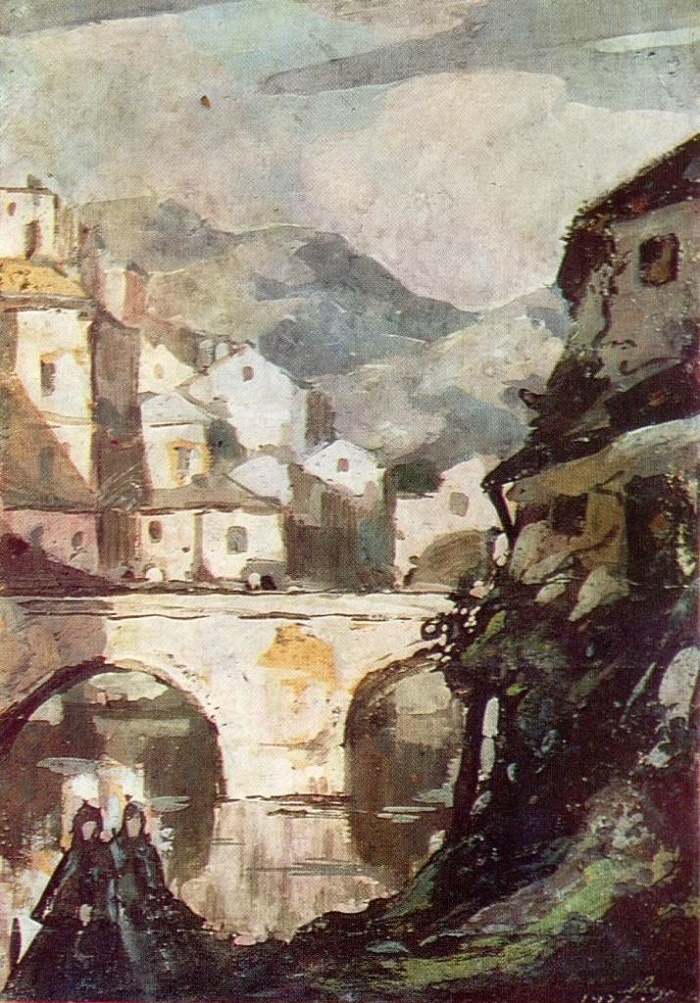Bridge. 1937. Cardboard, gouache. Soviet painter Alexander Rozhdestvensky