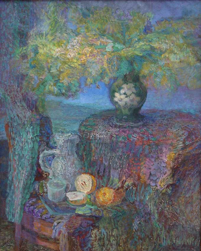 Colorful still life with flowers and fruits