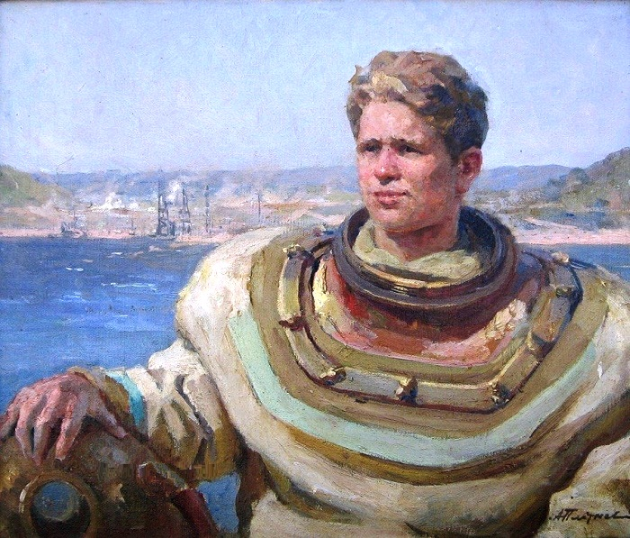 Diver of the Kuibyshev Hydroelectric Power Station. 1951