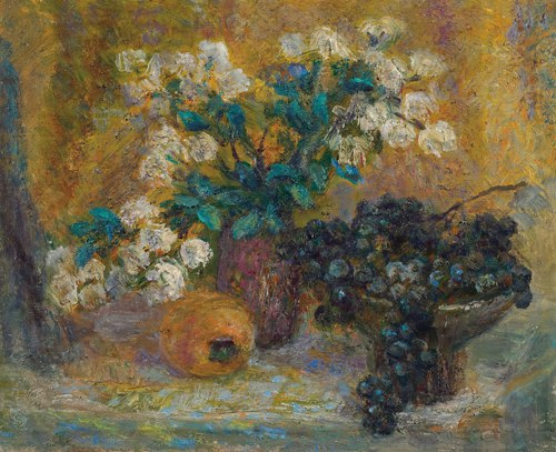 Flowers and grapes still life. 1991