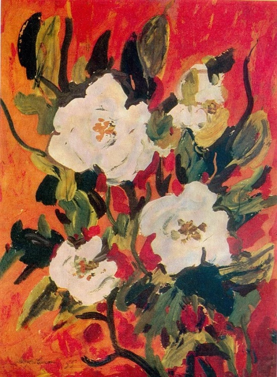 Flowers on a red background. 1955. Paper, gouache