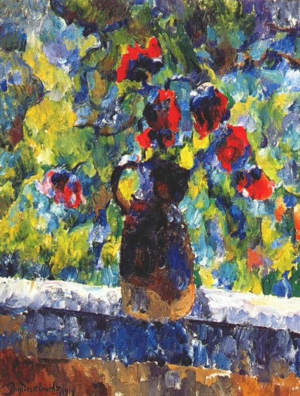 Flowers on the window. 1921. Oil, canvas