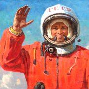 Good-bye, earthlings. 1979 (triptych Yuri Alekseevich Gagarin)
