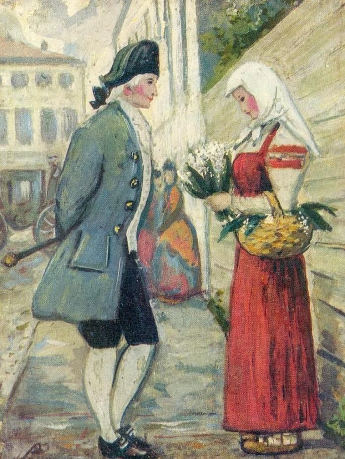 Illustration for the story of N. M. Karamzin 'Poor Lisa.' 1952. Paper, gouache