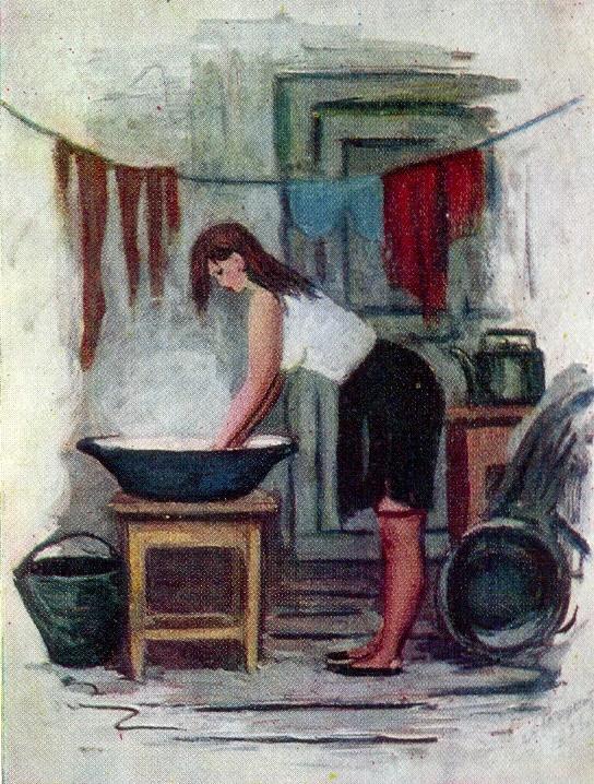 Klava is preparing. 1956. Paper, gouache. Soviet painter Alexander Rozhdestvensky