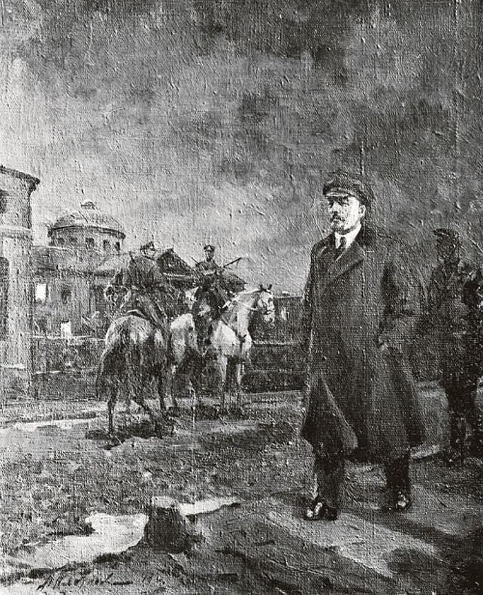Lenin goes to Smolny. October 24, 1917